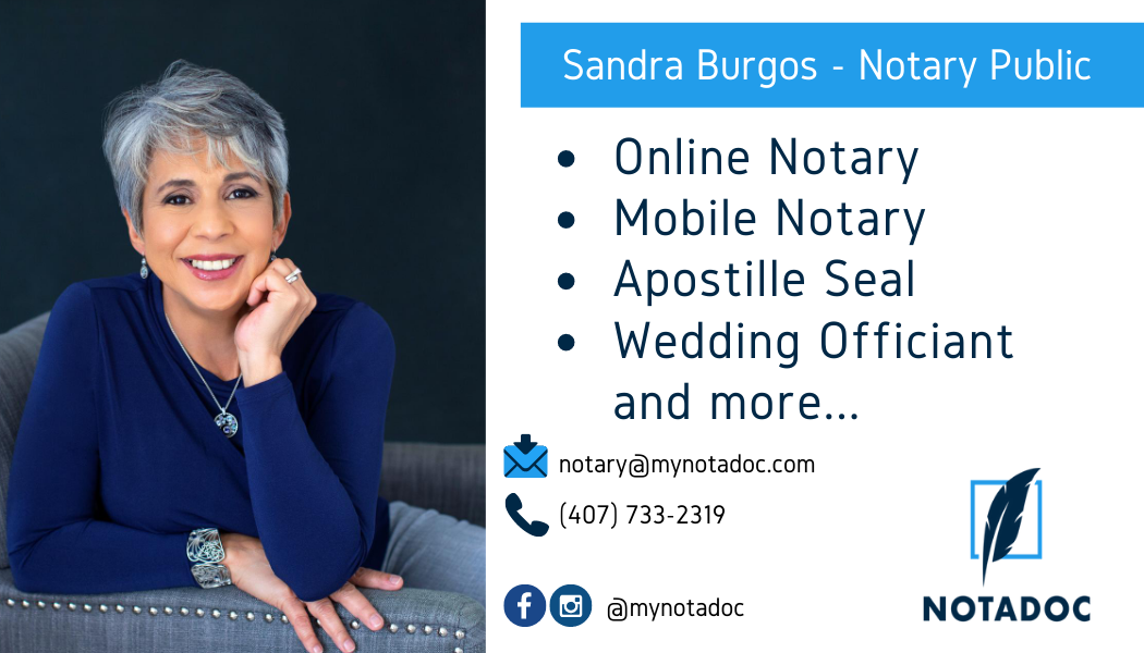 Notary Business Card -Sandra Burgos -Member of the Dr. Phillips Chamber of Commerce -Orlando Chamber